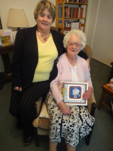 Barbara Seligman with Ruth Giddings on Ruth's 100th Birthday